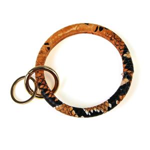 Keychain 153a 25 Tell Your Tale snake print wrist keychain orange