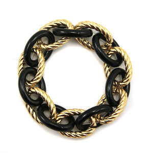 Bracelet 053j 25 Tell Your Tale stretch chain link bracelet gold black
