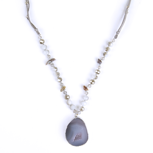 Necklace 013 27 Garden Party String & Stone necklace with semi raw stone pendant gray blue
