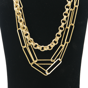 Necklace 1121 27 Garden Party contemporary multi layer necklace chain gold