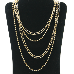 Necklace 1119 27 Garden Party contemporary multi layer necklace chain gold