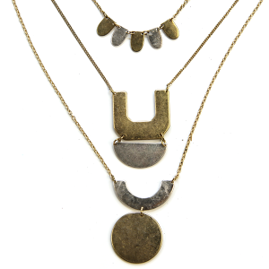 Necklace 1026f 27 moment three layer abstract necklace gold silver