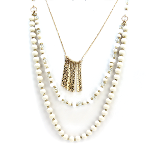 Necklace 1155d 27 Garden Party chic three layer bead necklace ivory