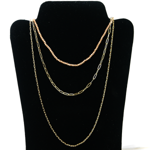 Necklace 1120e 27 Garden Party contemporary bead chain 3 layer necklace gold pink