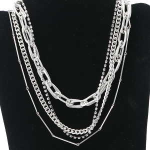 Necklace 1111 27 Garden Party contemporary multi layer necklace chain silver