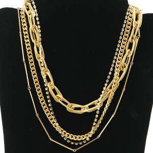 Necklace 1113 27 Garden Party contemporary multi layer necklace chain gold