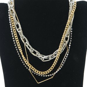 Necklace 1109 27 Garden Party contemporary multi layer necklace chain gold silver