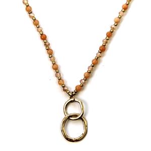 Necklace 1004b 27 Garden Party contemporary bead necklace peach