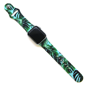 Watch Band 131c 38mm 40mm tropical leaves turquoise