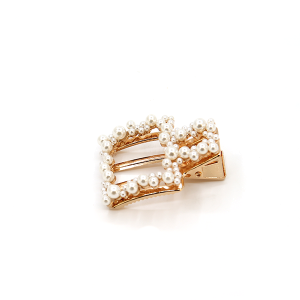 Hair clip 308A 91 Kailoki Square shape hair clip with pearls