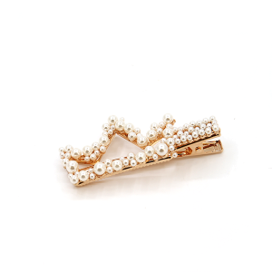 Hair clip 321A 91 Kailoki crown shaped hair clip with pearls