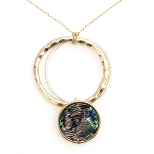 Necklace 1112b 33 Lucky You contemporary hoop abalone necklace gold