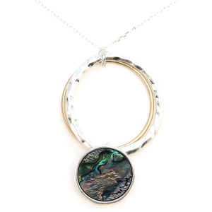 Necklace 1079c 33 Lucky You contemporary hoop abalone necklace silver