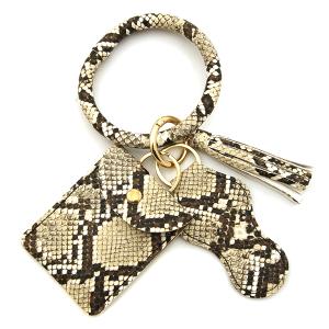 Keychain 009h  34 hoop sanitizer pouch tassel python snake beige