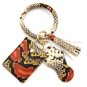 Keychain 050g  34 hoop sanitizer pouch tassel python snake red