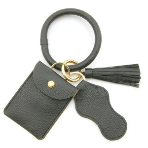 Keychain 115d 34 hoop sanitizer pouch tassel black