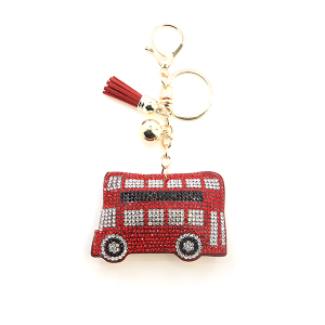 Keychain 020a 34 London Double Decker bus soft keychain