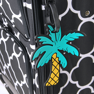 luggage tag 002x Palm Tree turquoise yellow