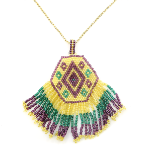 Mardi Gras Necklace 009 34 Bijorca beaded tassel fan mardi gras neckalce