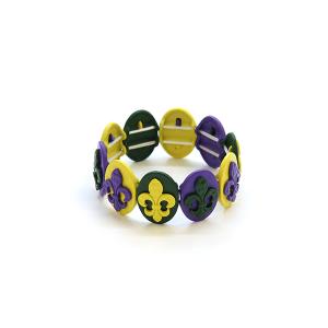 Mardi Gras Bracelet 025a 34 multicolor stretch bracelet fleur de lis