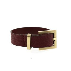 Bracelet 667L 70 buckle pebbled leather burgundy
