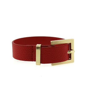 Bracelet 680a 70 buckle pebbled leather red