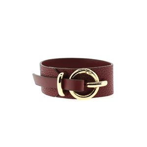 Bracelet 892 70 cuff wrap pebbled leather burgundy