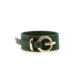 Bracelet 890a 70 cuff wrap pebbled leather green