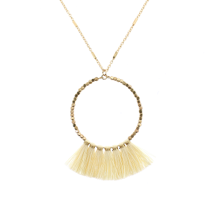 Fringe fan hoop necklace ivory