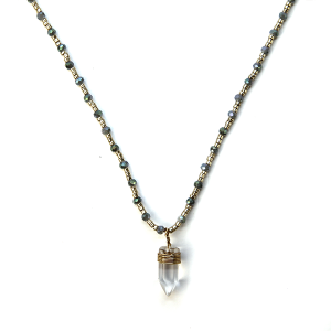 Necklace 685b 38 Mestiere contemporary crystal necklace gray gold