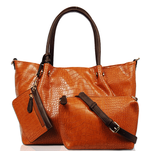Vieta 3S1651 3in1 fashion croc tote cognac