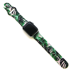 Watch Band 058c 38mm 40mm tropical leaves pink
