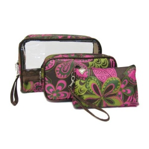 3pc rectangle cosmetic bag pink 1007