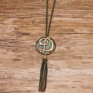 Neck 1896 40 Icon Collection Initial D tassel patina