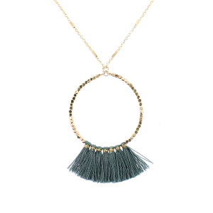 Fringe fan hoop necklace gray