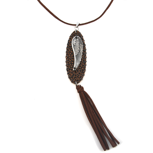 Necklace 1385e 40 Icon Collection leather string tassel oval wing brown silver
