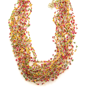 Necklace 606j 40 Icon Collection seed bead string yellow pink green