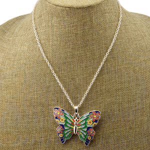 Necklace 1529a 40 Icon Collection floral butterfly