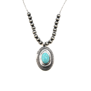 Necklace 321d 40 Icon Collection bead round oval stone silver turquoise