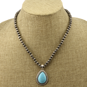 Necklace 1506a 40 Icon Collection navajo western tear drop charm turquoise