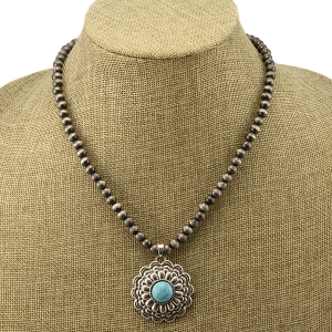 Necklace 1501a 40 Icon Collection navajo western floral concho charm turquoise