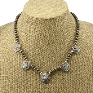 Necklace 1507a 40 Icon Collection navajo western concho charms turquoise