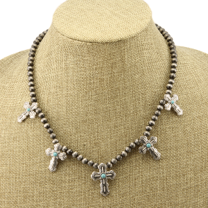 Necklace 1497a 40 Icon Collection navajo western cross charms turquoise