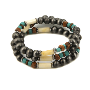Bracelet 005c 40 Icon Collection Navajo western bead silver turquoise