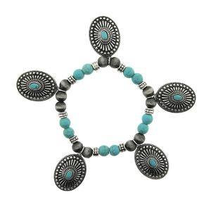 Bracelet 186e 40 Icon Collection navajo bead oval concho