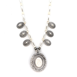 Necklace 830 40 Icon Collection navajo concho stone necklace silver white