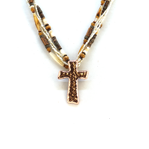 Necklace 2004a 40 Icon Collection western chic bead stone cross necklace ivory copper