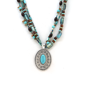 Necklace 2094a 40 Icon Collection western chic bead stone necklace turquoise silver