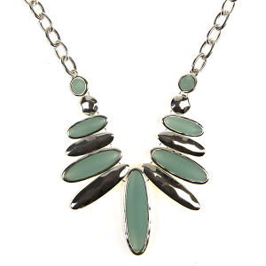 Necklace 708 40 Icon Collection oval bib style necklace turquoise