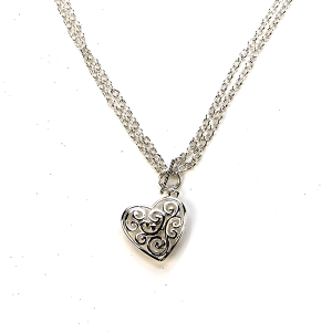 Necklace 080b 40 Icon Collection filigree heart necklace silver